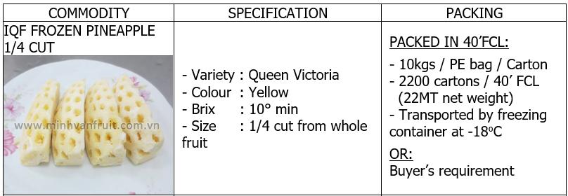 Frozen Pineapple 1-4 Cut